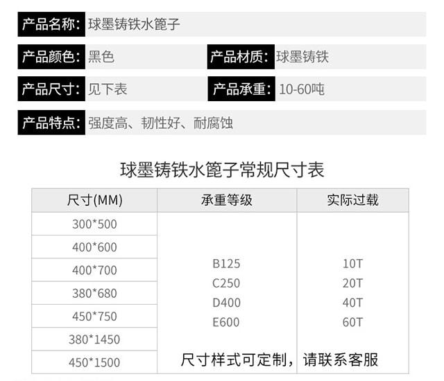 铸铁雨水篦子规格尺寸/价格9