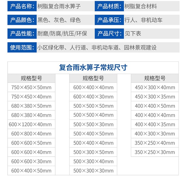 复合树脂雨水篦子规格尺寸/价格11